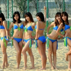 Asian Girls in Blue Bikinis at the beach
