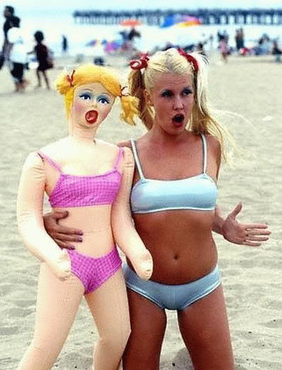 Blonde Blowup doll Pink Bikini