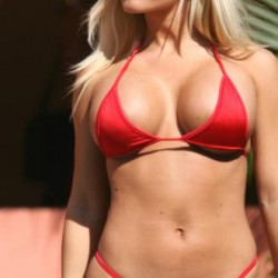 Hot Blonde Red Micro Bikini