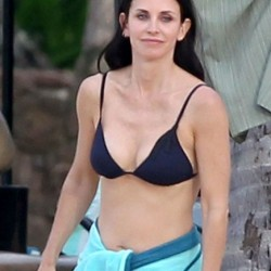 Courtney Cox Black Bikini Top