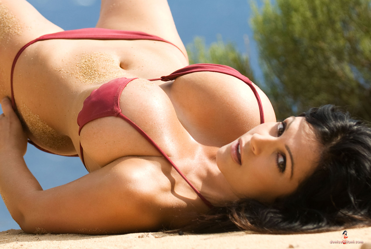 Denise Milani Hot Red Micro Bikini