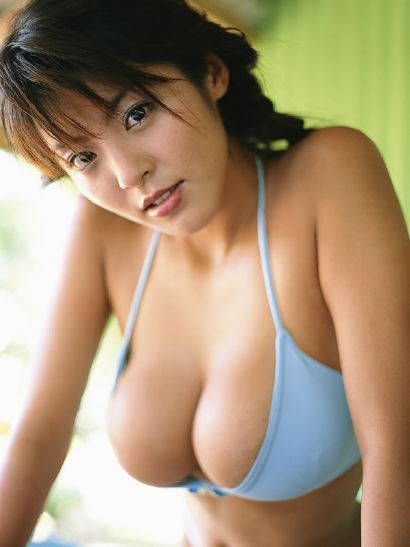 Hot Asian Girl Blue Bikini Top