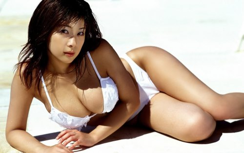 Hot asian bikini model white bikini