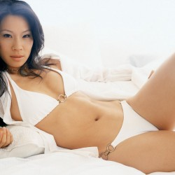 Lucy Liu Celebrity in a Hot White Bikini