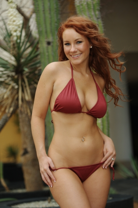 Redhead in a hot red bikini