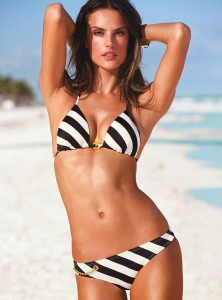 Alessandra Ambrosio, black white striped bikini,beach body,