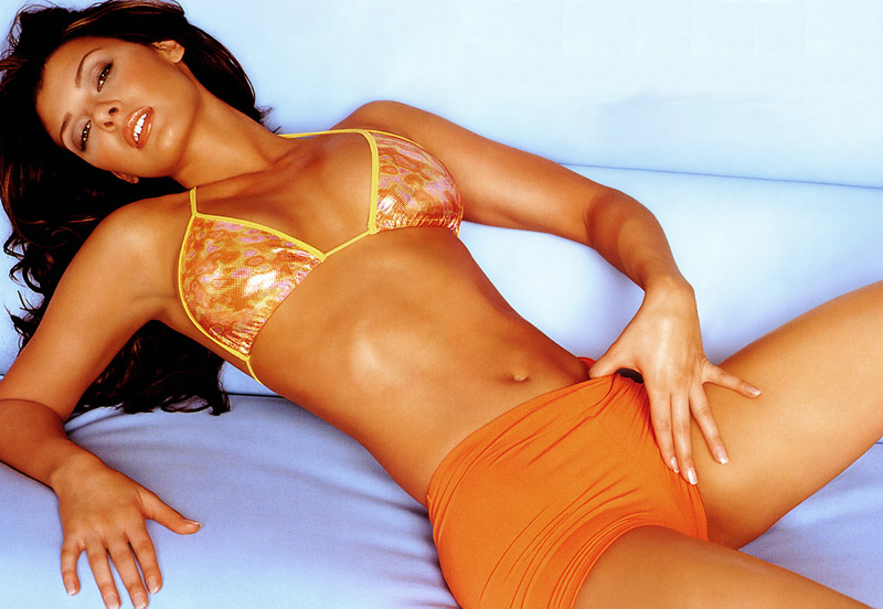 Ali Landry ,orange bikini,string bra top