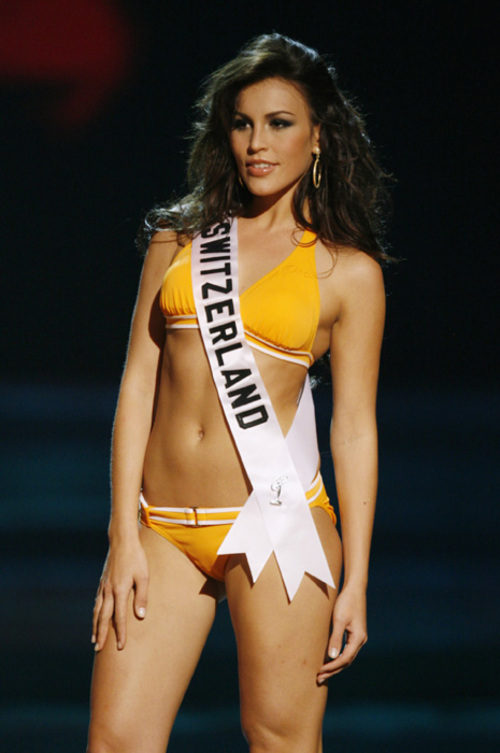 Amanda Ammann yellow bikini,miss switzerland,beauty pageant