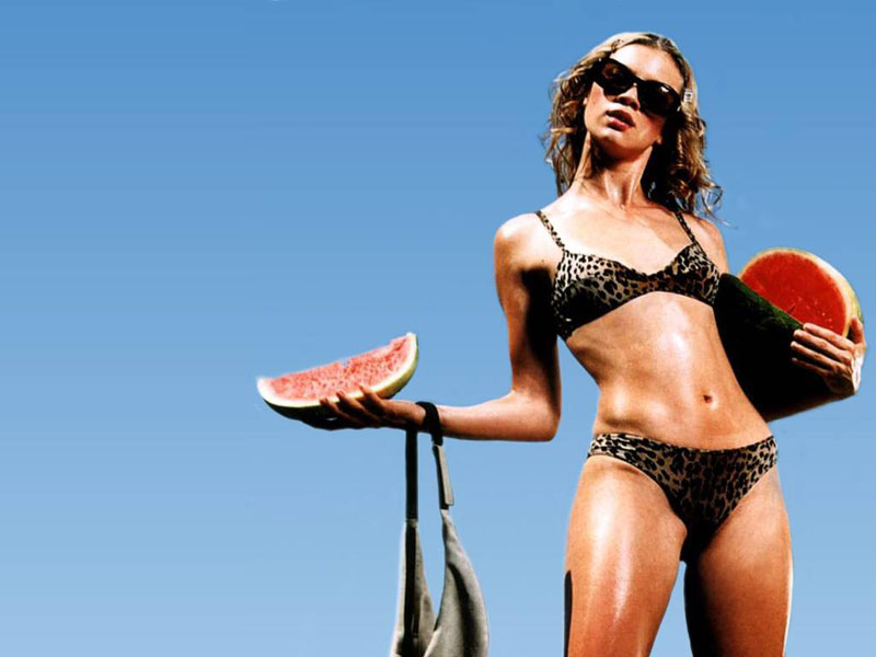 Amy Smart ,black bikini,watermelon