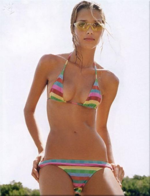 Ana Beatriz Barros ,striped bikini,skinny model,hot girl