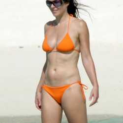 Elizabeth Hurley orange string bikini