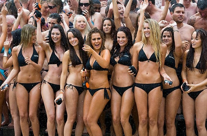 Girls Together black string bikinis