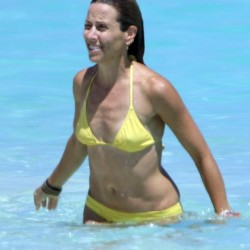 Sheryl Crow yellow bikini swimming