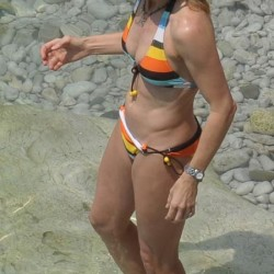 Steffi Graf striped bikini