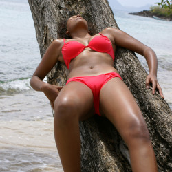 black girl in a bikini, red bikini, bikini tree